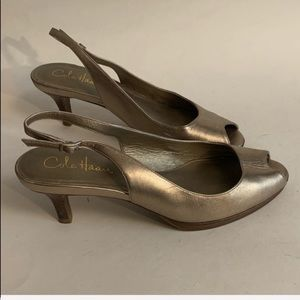 Cole Haan silver leather slingbacks peeptoe 7.5B